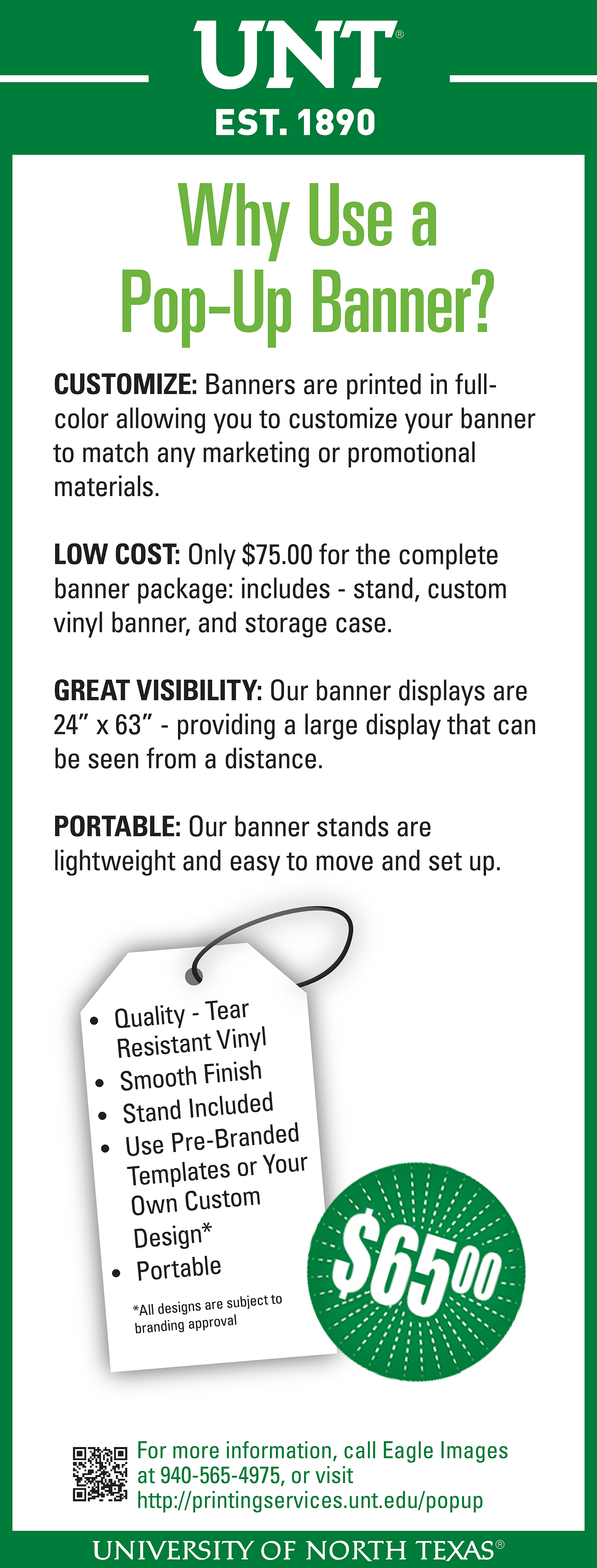 65 pop up banners for a limited time printing and distribution